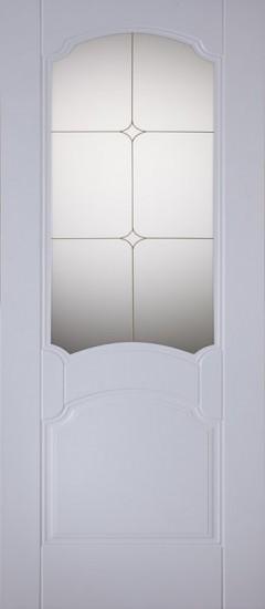 Межкомнатная дверь «Классика Белый стекло художественное»